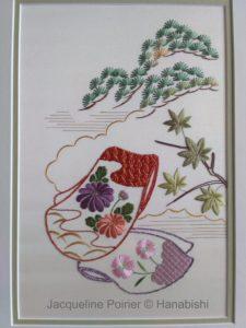 Photo de l'ouvrage Manche de Kimono, ouvrage d'initiation de broderie traditionnelle japonaise de Hanabishi