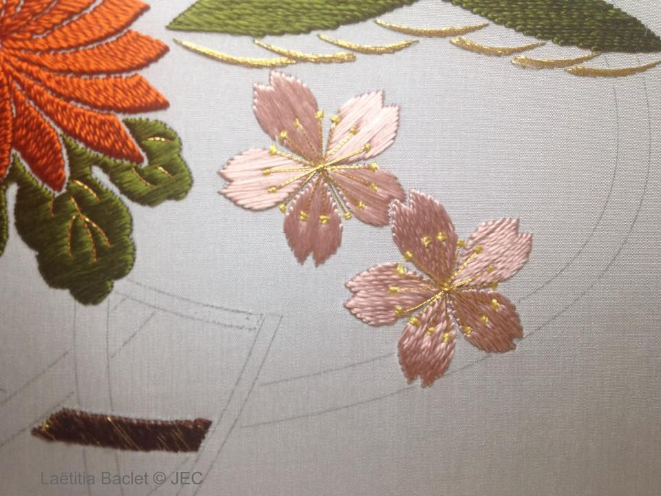 "Zoom sur la phase 1 ""Hana-kago American basket"" - Fleur de cerisier"